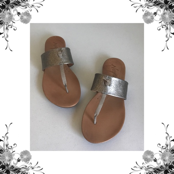 7336b033dd5c8  Naya  Crescent Metallic Leather Thong Sandal